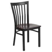Flash Furniture  Hercules Series Schoolhouse-Back Metal Restaurant Chair, Black with Walnut Wood Seat (XUDG6Q4BSCHWALW)