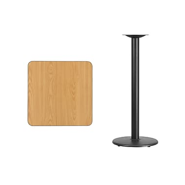 Flash Furniture 24'' Square Laminate Table Top, Natural with 18'' Round Bar-Height Table Base (XUNT2424TR18B)