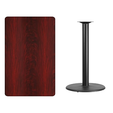 Flash Furniture 30'' x 48'' Rectangular Laminate Table Top, Mahogany with 24'' Round Bar-Height Table Base (XUMA3048TR24B)