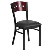 Flash Furniture  Hercules 4-Square Back Metal Restaurant Chair, Black with Mahogany Wood Back, Black Vinyl Seat (XUDG6Y1BMAHBKV)