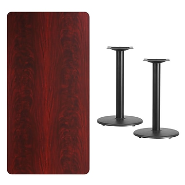 Flash Furniture 30'' x 60'' Rectangular Laminate Table Top, Mahogany with 18'' Round Table Height Bases (XUMA3060TR18)
