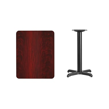 Flash Furniture 24'' x 30'' Rectangular Laminate Table Top, Mahogany with 22'' x 22'' Table-Height Base (XUMA2430T2222)