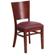 Flash Furniture Lacey Series Solid Back Restaurant Chair, Mahogany Wood Finish, Burgundy Vinyl Seat, 2/Box (XUDGW094MAHBGV)