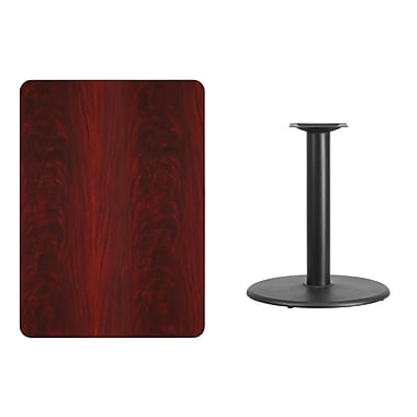 Flash Furniture 30'' x 42'' Rectangular Laminate Table Top, Mahogany with 24'' Round Table-Height Base (XUMA3042TR24)