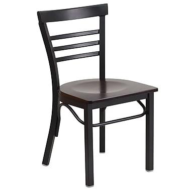 Flash Furniture Hercules Series Ladderback Metal Restaurant Chair, Black with Walnut Wood Seat (XUDG6Q6B1LADWAW)