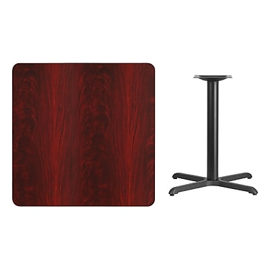 Flash Furniture 36'' Square Laminate Table Top, Mahogany with 30'' x 30'' Table-Height Base (XUMA3636T3030)