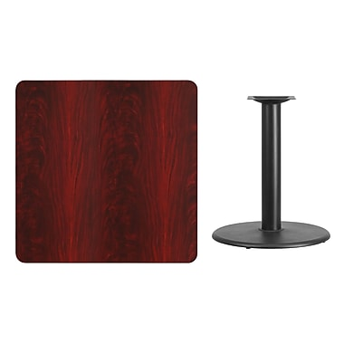 Flash Furniture 36'' Square Laminate Table Top, Mahogany with 24'' Round Table-Height Base (XUMA3636TR24)