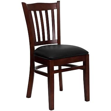 Flash Furniture – Chaise de restaurant en bois à traverses verticales, acajou, siège en vinyle noir (XUDGW08VRTMABKV)