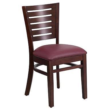 Flash Furniture – Chaise de restaurant en bois, dossier à barreaux, noyer, siège vinyle bourgogne, 2/bt (XUDGW018WALBGV)