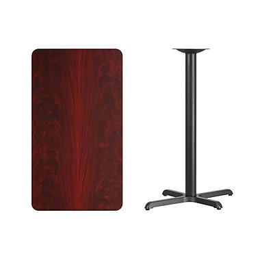 Flash Furniture 24'' x 42'' Rectangular Laminate Table Top, Mahogany with 22'' x 30'' Bar Height Table Base (XUMA2442T2230B)