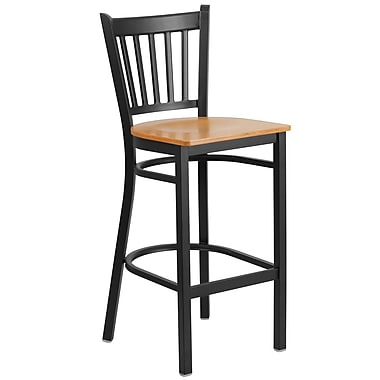 Flash Furniture Hercules Series Vertical-Back Metal Restaurant Barstool, Black with Natural Wood Seat (XUDG6R6BVRTNATW)