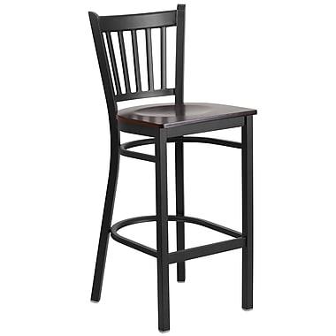 Flash Furniture – Tabouret bistro en métal, dossier à traverses verticales, noir, siège en noyer (XUDG6R6BVRTWALW)