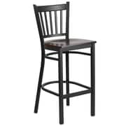 Flash Furniture  Hercules  Vertical-Back Metal Restaurant Barstool, Black, Walnut Wood Seat (XUDG6R6BVRTWALW)