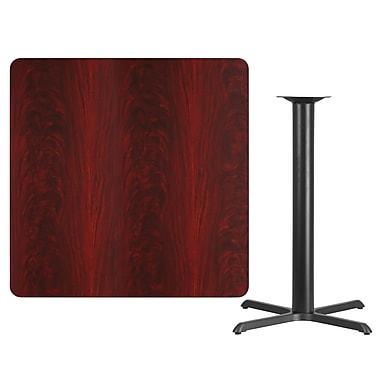 Flash Furniture 42'' Square Laminate Table Top, Mahogany with 33'' x 33'' Bar-Height Table Base (XUMA4242T3333B)