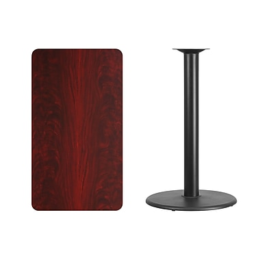 Flash Furniture 24'' x 42'' Rectangular Laminate Table Top, Mahogany with 24'' Round Bar-Height Table Base (XUMA2442TR24B)