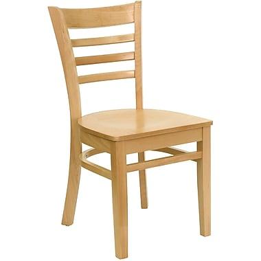 Flash Furniture – Chaise de restaurant en bois avec dossier à traverses horizontales, fini naturel (XUDGW0005LADNAT)
