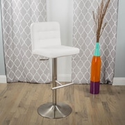 Matrix Dexter Adjustable Height Swivel Bar Stool with Cushion; White