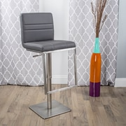 Matrix Dimaz Adjustable Height Swivel Bar Stool with Cushion; Grey