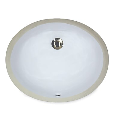 Nantucket Sinks Great Point Vitreous China Oval Undercounter Bathroom Sink; White