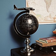 Old Modern Handicrafts Decorative Airplane on Globe with Brass Stand