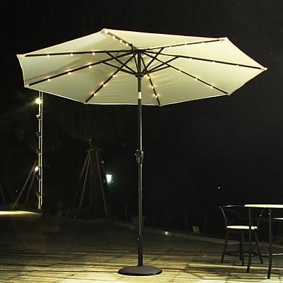 AdecoTrading 9' Patio Round Market Umbrella; Beige WYF078278339796