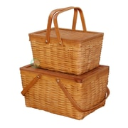 Quickway Imports 2 Piece Rectangle Handwoven Chipwood Basket Set