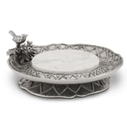 Star Home Trellis Pedestal Server Chip and Dip Tray w/ Stone Insert