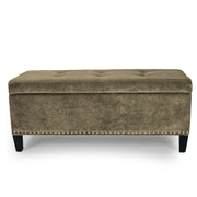 AdecoTrading Rectangular Tufted Storage Ottoman; Dark Brown