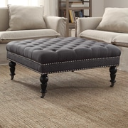 Linon Isabelle Square Tufted Ottoman; Charcoal