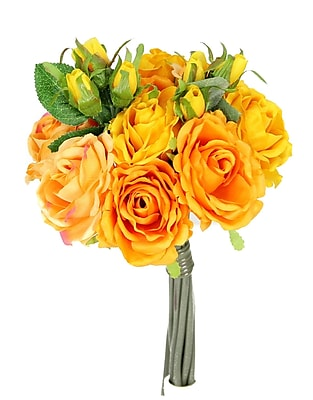 AdmiredbyNature 11 Stems Artificial Rose Bouquet; Apricot