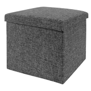 Seville Classics Foldable Storage Foot Stool Cube Ottoman; Dark Ash Grey