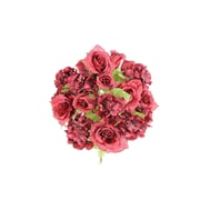 AdmiredbyNature 18 Stems Artificial Full Blooming Rose and Hydrangea w/ Greenery; Burgundy Mix
