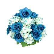 AdmiredbyNature 18 Stems Artificial Full Blooming Rose and Hydrangea w/ Greenery; Celadon Mix