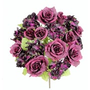 AdmiredbyNature 18 Stems Artificial Full Blooming Rose and Hydrangea w/ Greenery; Eggplant