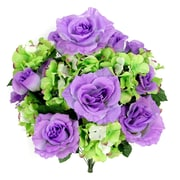 AdmiredbyNature 18 Stems Artificial Full Blooming Rose and Hydrangea w/ Greenery; Lavender Mix