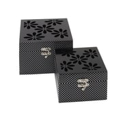 Woodland Imports 2 Piece Floral Mirror Box Set (Set of 2)