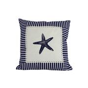 Handcrafted Nautical Decor Starfish Nautical Stripes Throw Pillow