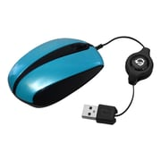 SIIG® JK-US0B12-S1 Ultra Compact Retractable USB Wired Optical Mouse, Blue (JK-US0B12-S1)
