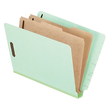 Pendaflex® Pressboard End-Tab Classification Folder, Letter Size, Pale Green