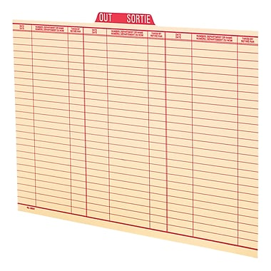 Pendaflex® Legal Size Vertical Out Guide, Red, Bilingual, 100/Box