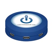 ChargeHub 7-Port USB Universal Charging Station, Round, Blue