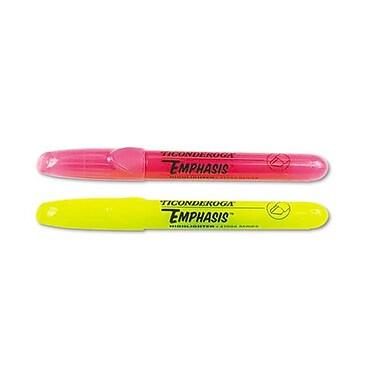 Ticonderoga® Emphasis Desk Style Highlighter, Chisel Tip, Fluorescent Yellow, Dozen
