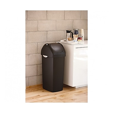 simplehuman® Swing Lid Trash Can, Black Plastic, 16 gal.