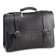 Jack Georges University sized Triple Gusset Leather Briefcase; Black