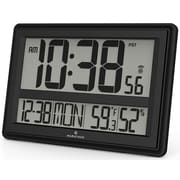 Marathon Watch Company Jumbo Atomic Wall Clock w/ Table Stand - Batteries Included; Black
