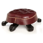 River of Goods Hand Carved Faux Leather Turtle Foot Stool