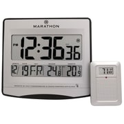 Atomic Wall Clock w/ 8 Timezones, Indoor/Outdoor Temperature & Date in Silver - Batteries Included