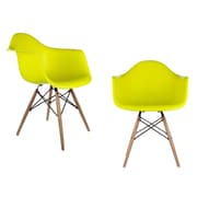 eModern Decor Mid Century Modern Scandinavian Arm Chair (Set of 2); Light Yellow