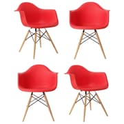 eModern Decor Mid Century Modern Scandinavian Arm Chair (Set of 4); Red