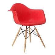 eModern Decor Mid Century Modern Scandinavian Arm Chair; Red